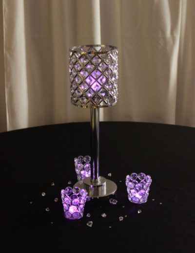 "Crystal Pedestal Candleholder -18"" with votives"